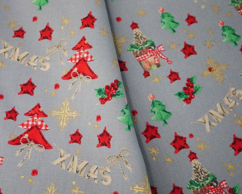 Christmas Gingham Tree Star Cotton