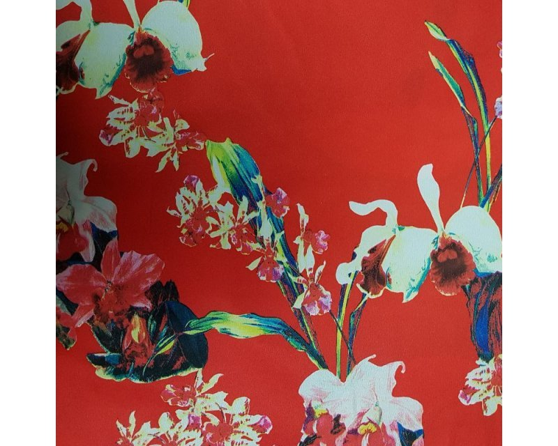 Red Floral Stretch Satin