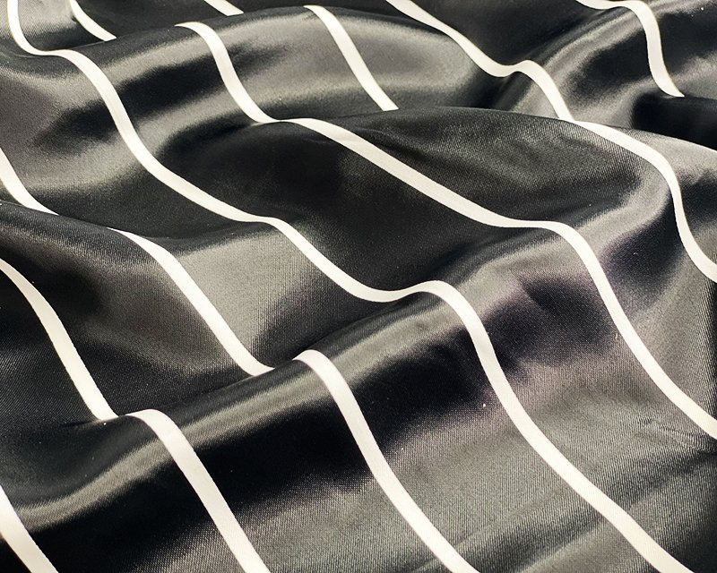 Monochrome  Stripe Satin