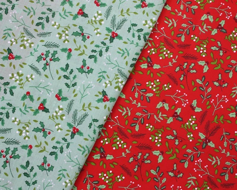 Sally Polycotton Holly Leaves Christmas