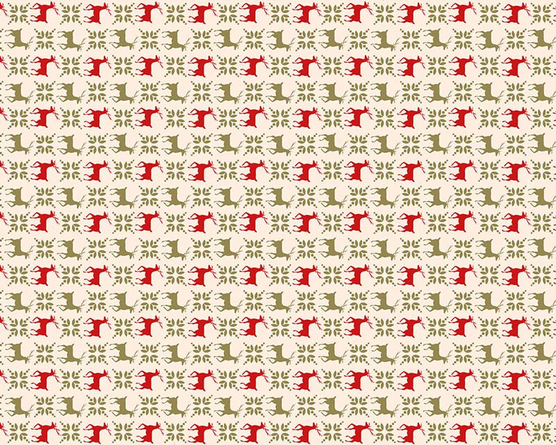 Christmas Reindeer Metallic Pattern Cotton