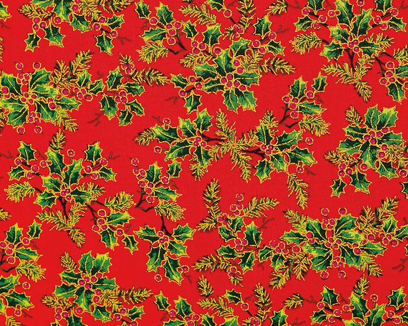 Christmas Holly Print Cotton