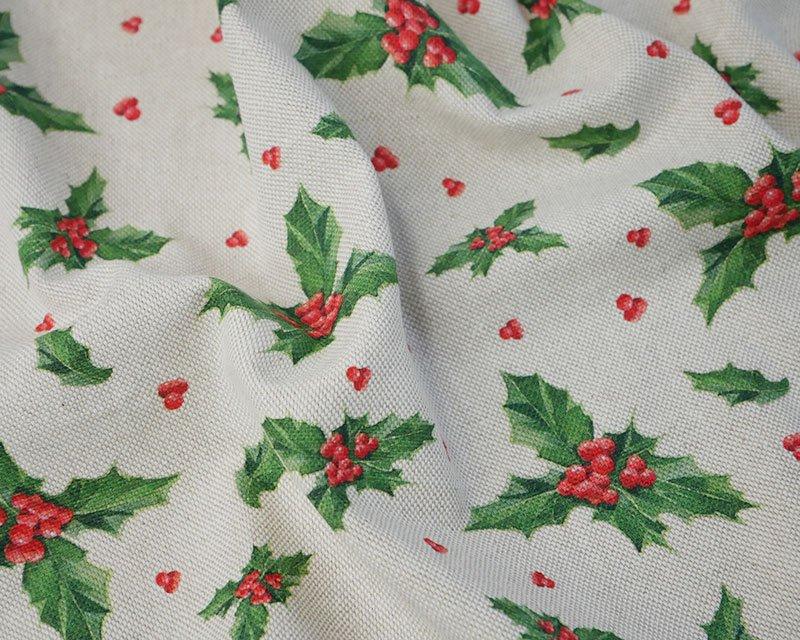 Premium Linen Look Canvas Christmas Holly
