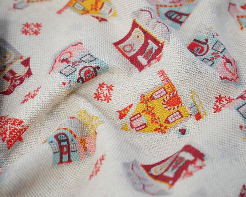 Premium Linen Look Canvas Christmas Houses