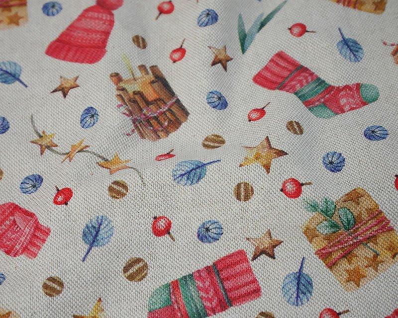 Premium Linen Look Canvas Christmas Stocking Stars