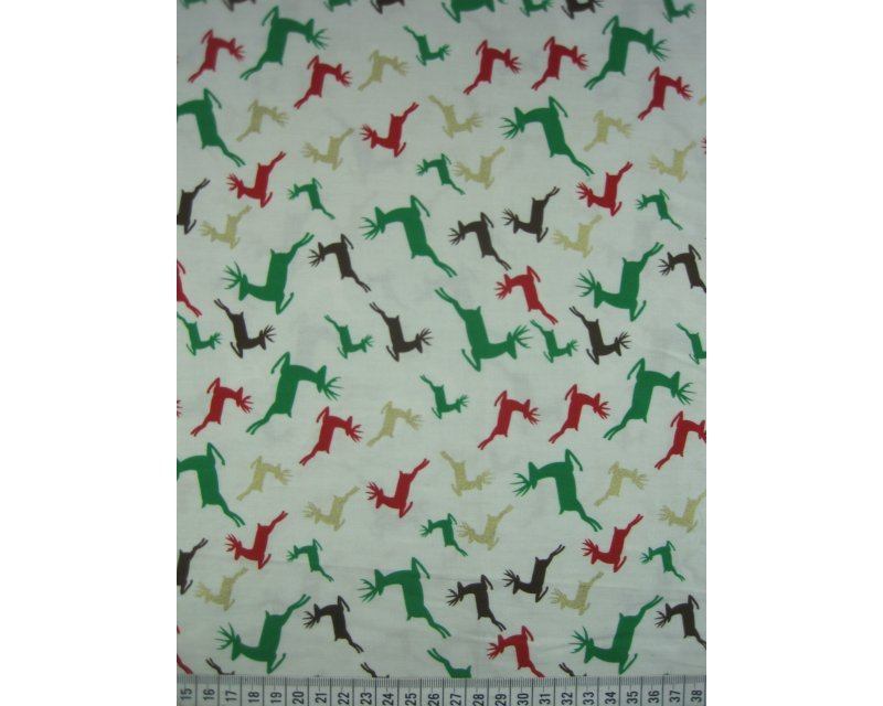 Christmas Reindeer Cotton Poplin