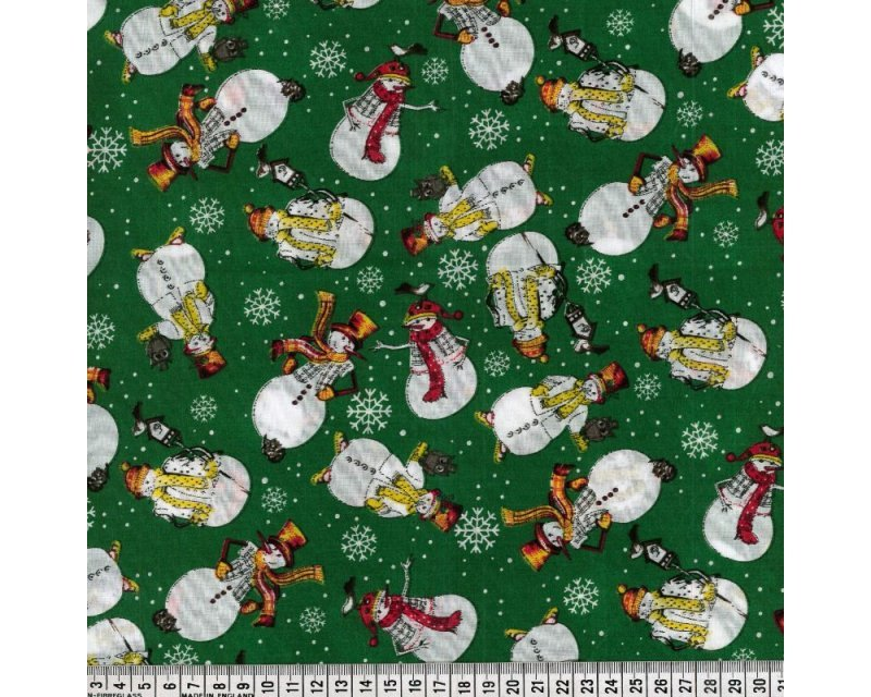 MP Christmas Snowman Snowflake Polycotton