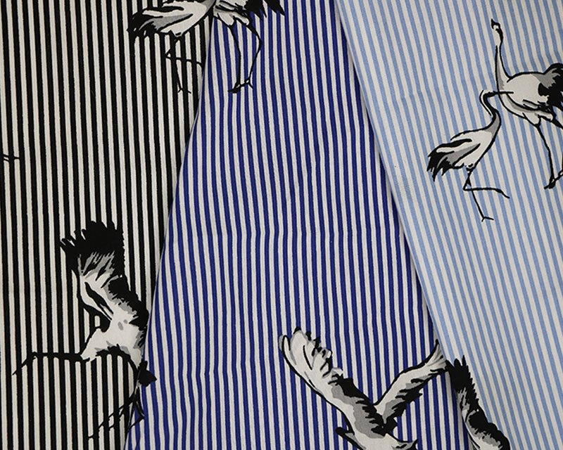 Bird Stripe Stretch Poplin