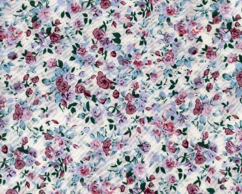 Mint Lilac Floral Polycotton Fabric