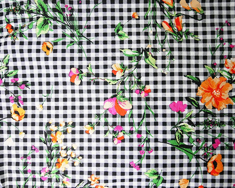 Floral Gingham Stretch Poplin