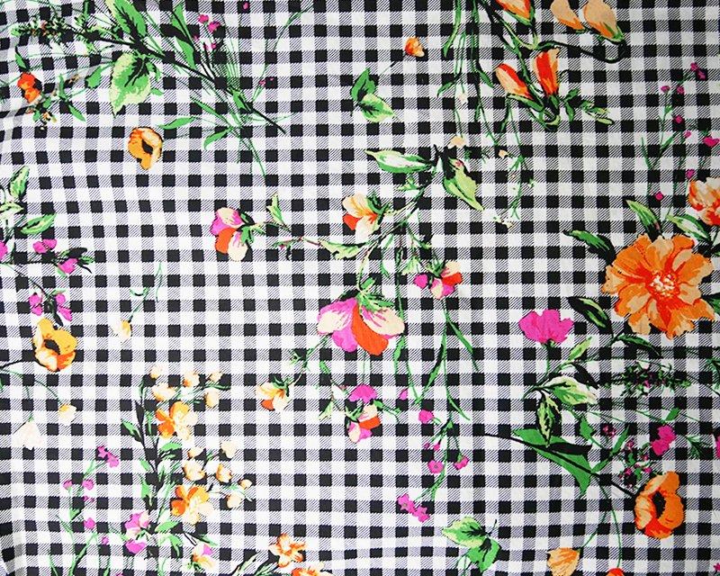 Floral Gingham Stretch Poplin
