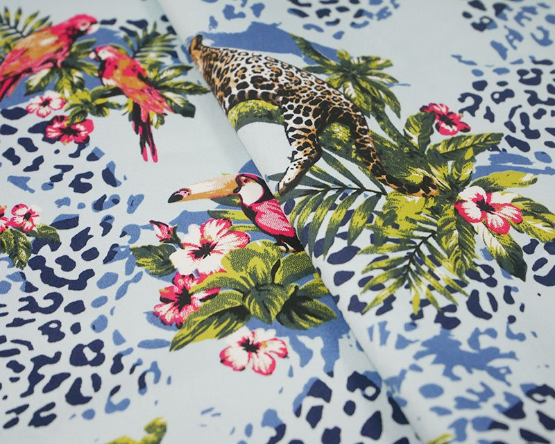 Monkey Parrot Leopard Cotton Sateen