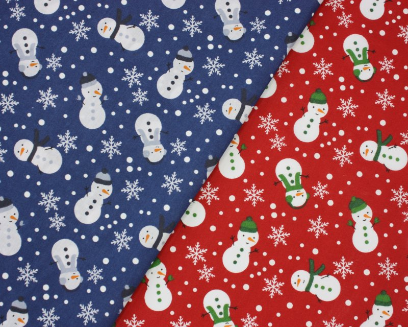 Sally Polycotton Snowman Christmas