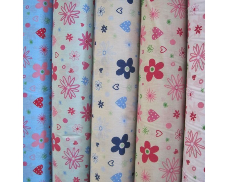 Sally Polycotton Floral Hearts