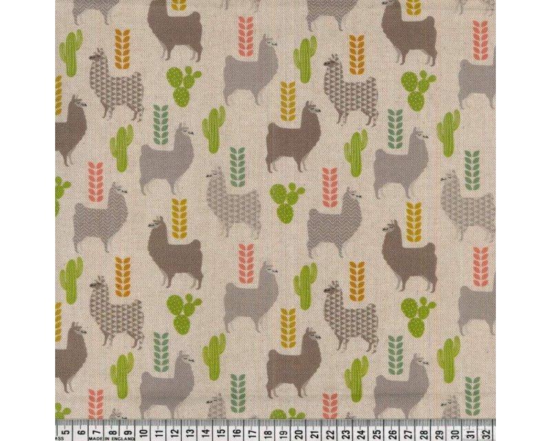 Premium Linen Look Canvas Cactus Llama