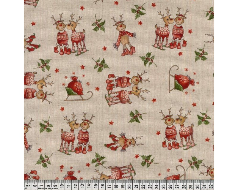 Premium Linen Look Canvas Christmas Reindeers