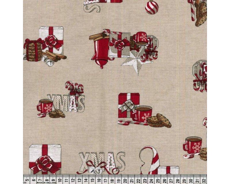 Premium Linen Look Canvas Christmas Present Baubles