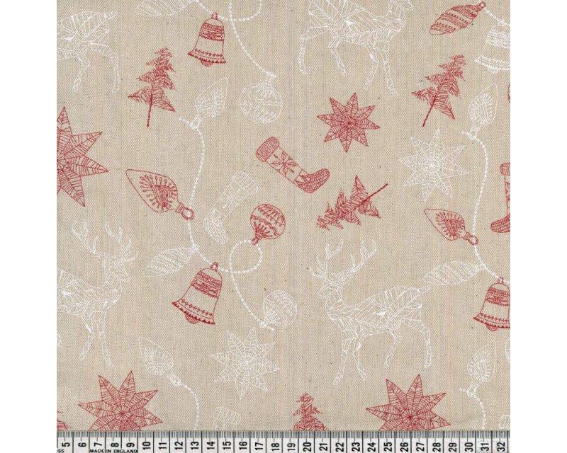 Premium Linen Look Canvas Christmas Reindeer Bells