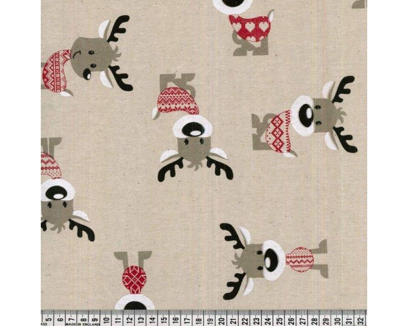 Premium Linen Look Canvas Christmas Reindeer Hearts