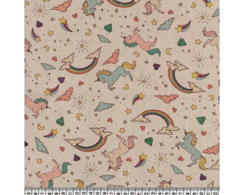 Premium Linen Look Canvas Rainbow Unicorns