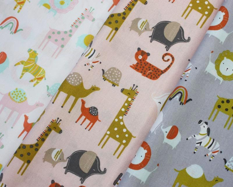 Safari Animals Organic Cotton Poplin