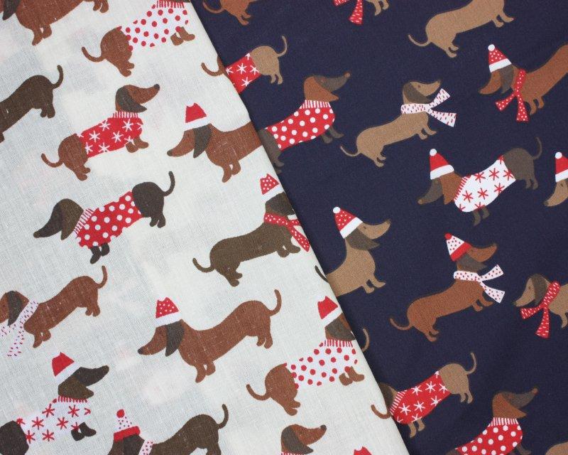 Sally Polycotton Sausage Dog Christmas