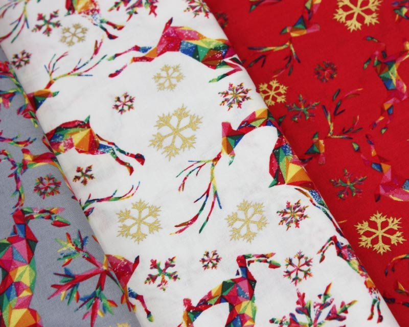 Rainbow Reindeer Metallic Cotton