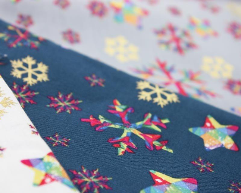 Rainbow Snowflake Metallic Cotton