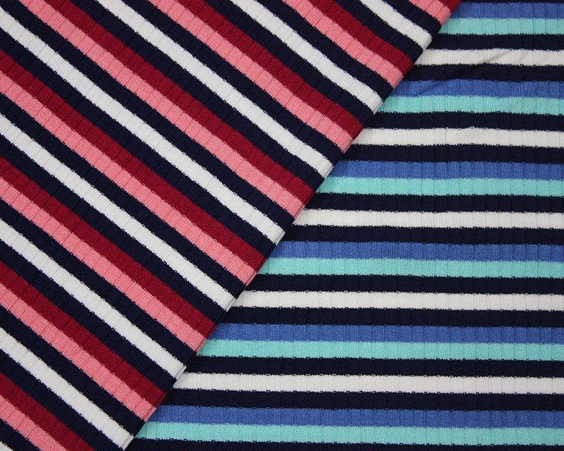 Contrast Stripe Viscose Ribbing Jersey