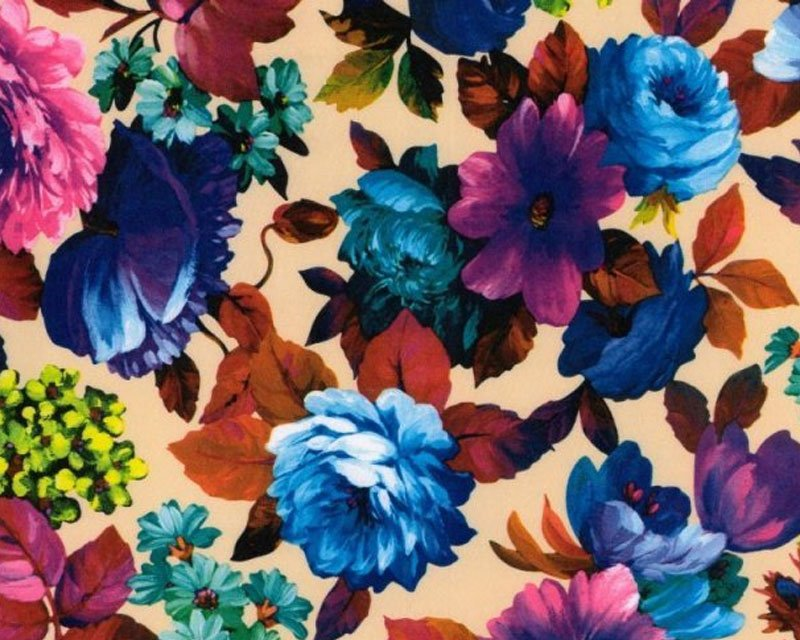 Multi Flower Stretch Sateen