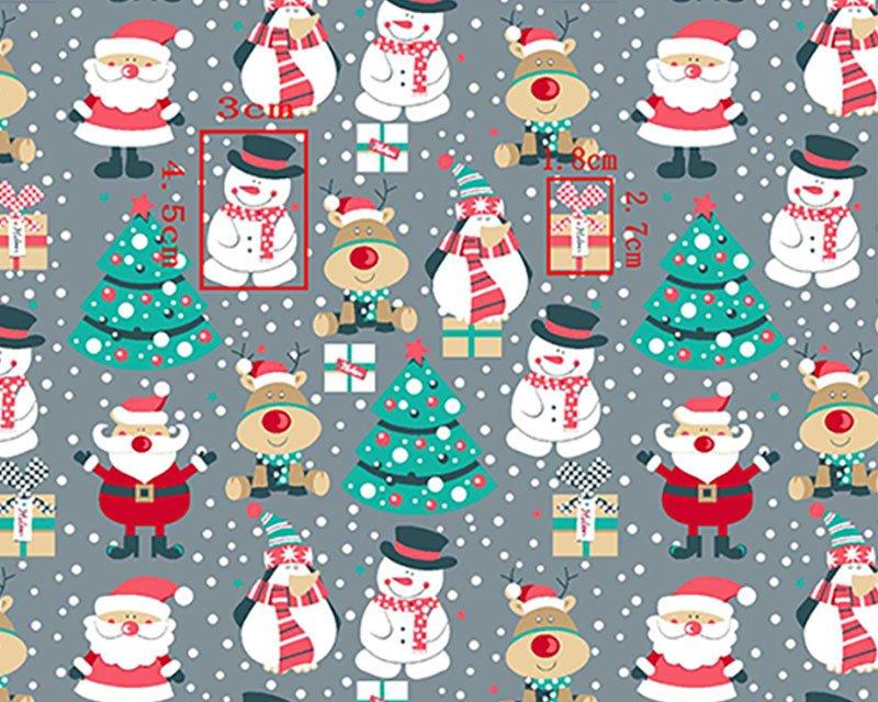Santa Reindeer Snowman Polycotton
