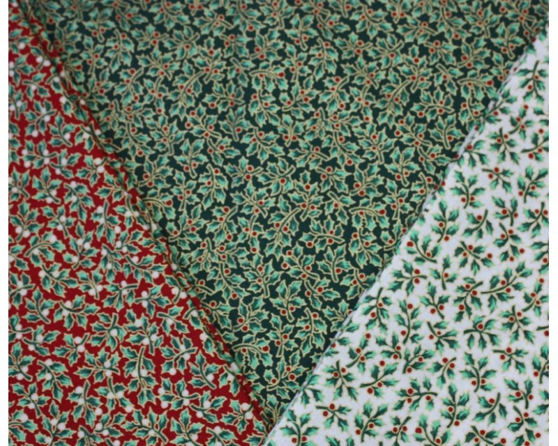Holly Berry Metallic Christmas Cotton