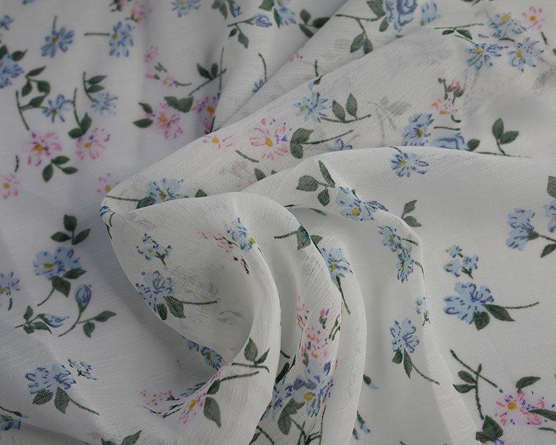 Blue flower crinkle chiffon