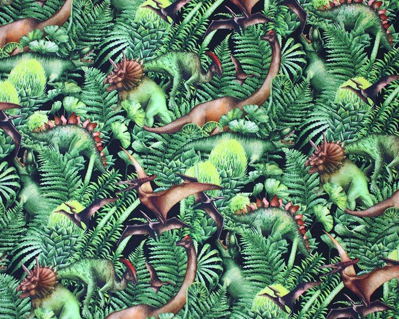 Little Johnny - Leafy Dinosaur Cotton Jersey