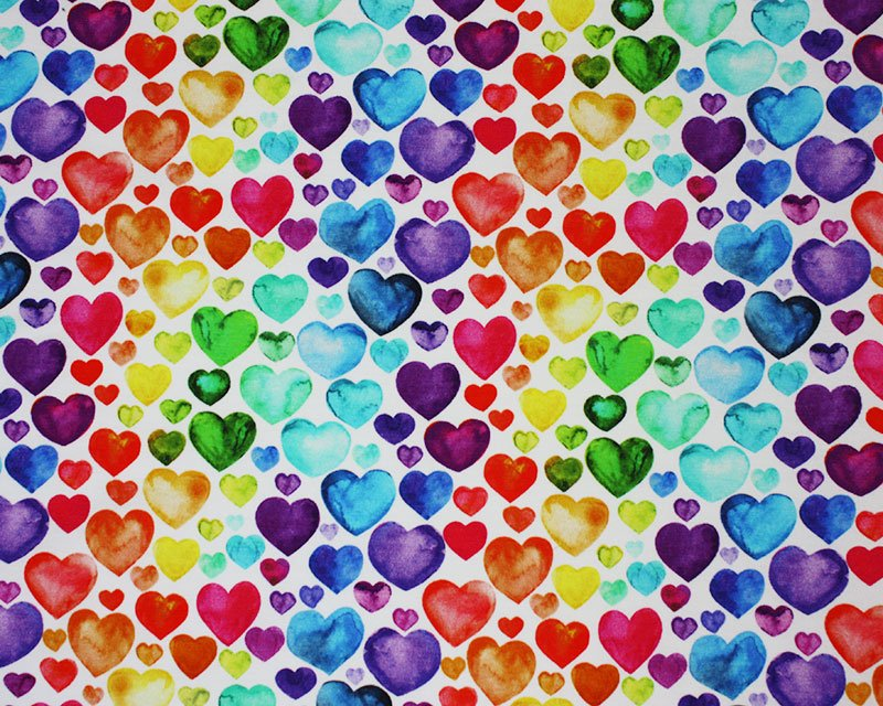 Little Johnny - Watercolour Rainbow Hearts Cotton Jersey