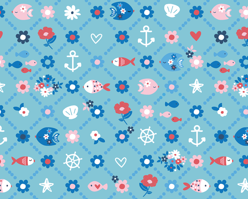 Floral Fish Cotton Poplin