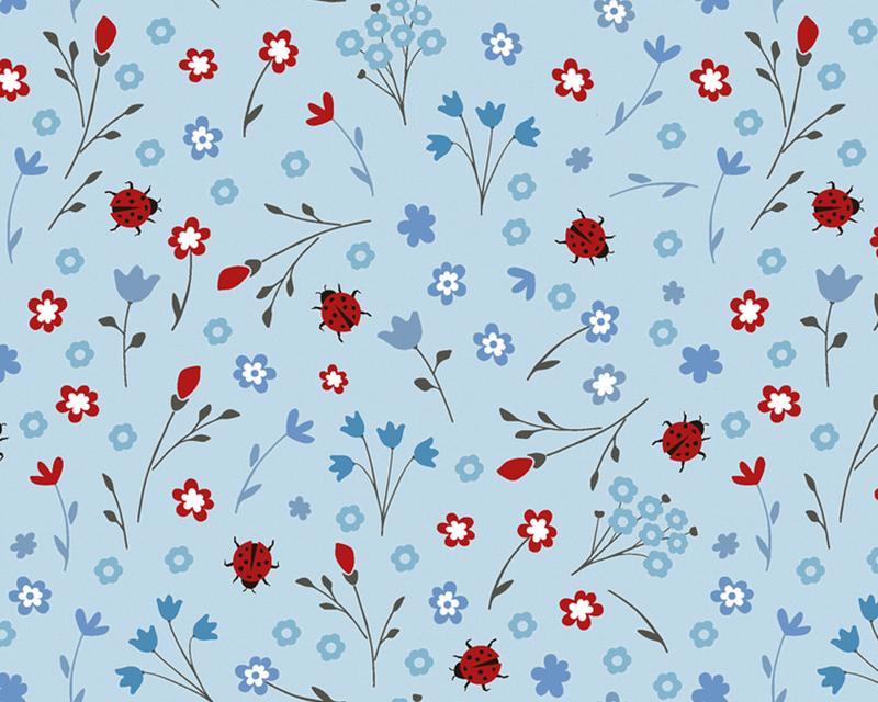 Floral Ladybug Cotton Poplin