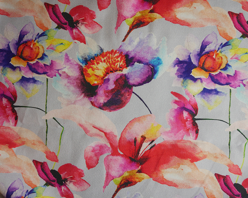 Large Flowers Cotton Canvas