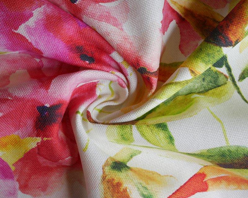 Watercolour Flowers Cotton Canvas