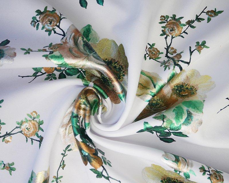 Foil Flowers Scuba - White/Gold