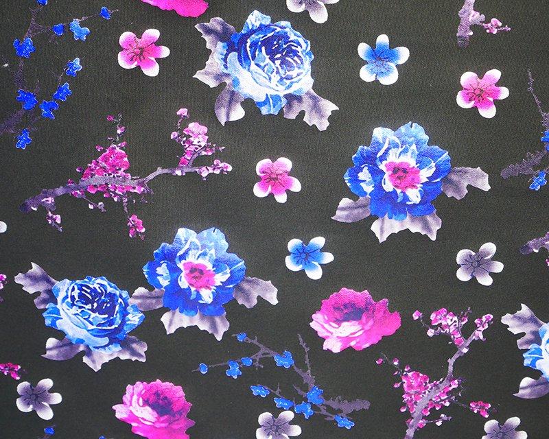 Foil Flowers Scuba - Black/Magenta