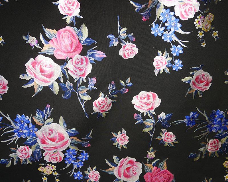 Foil Flowers Scuba - Black/Blue