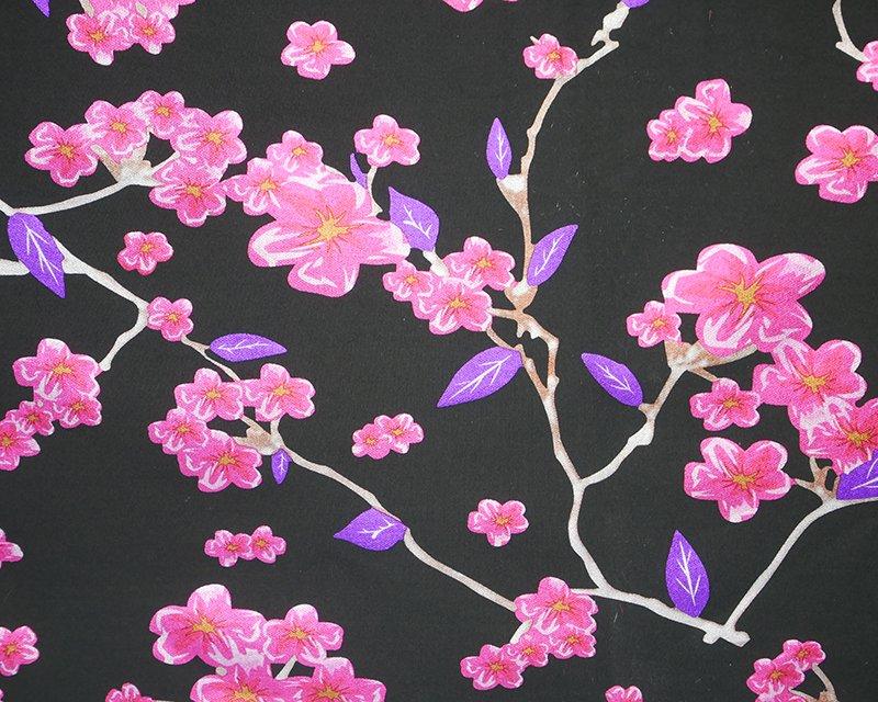 Foil Flowers Scuba - Black/Cerise
