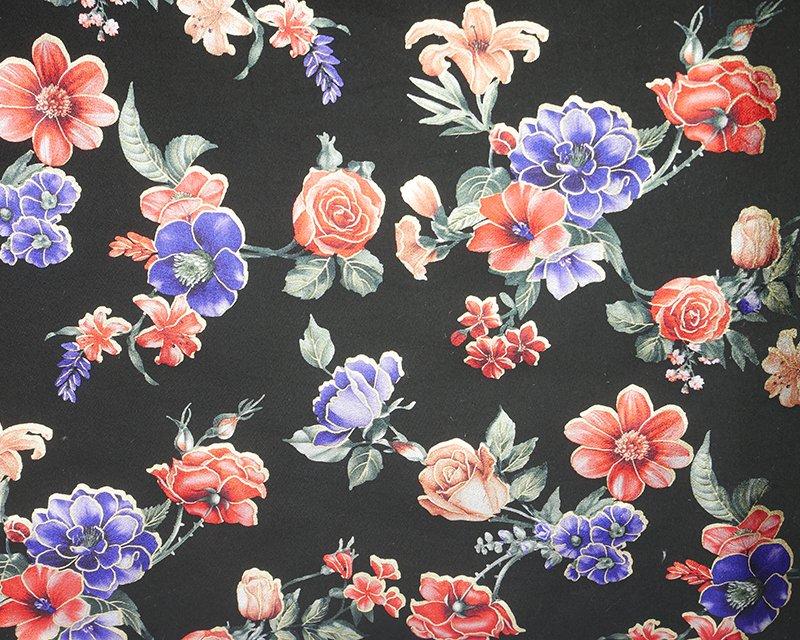 Foil Flowers Scuba - Black/Royal