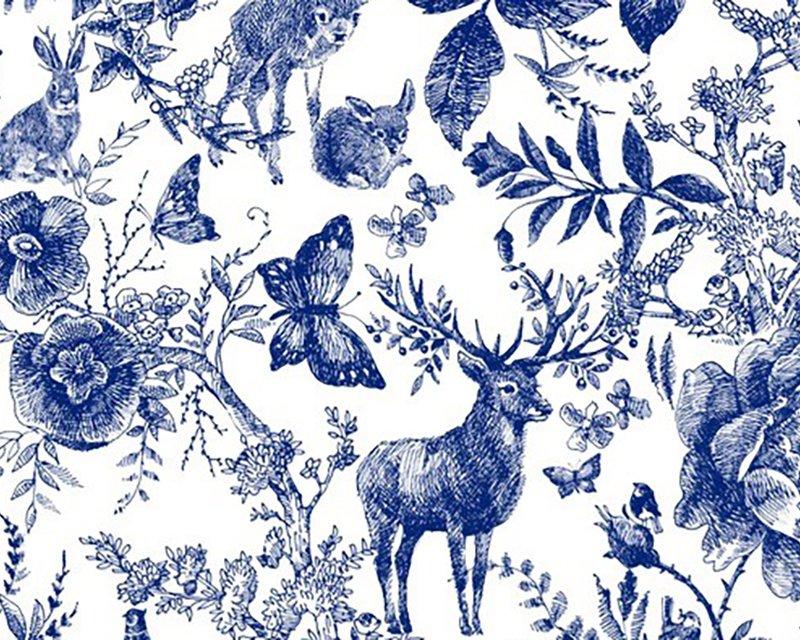 Little Johnny -  Blue Ink Forest Digital Cotton