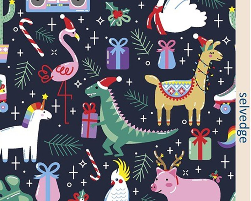 Little Johnny -  Fun Animal Xmas Digital Cotton