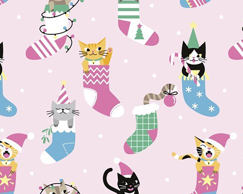 Little Johnny -  Xmas Cats in Stockings Digital Cotton