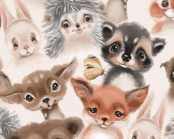 Little Johnny -  Water Colour Baby Animals Digital Cotton