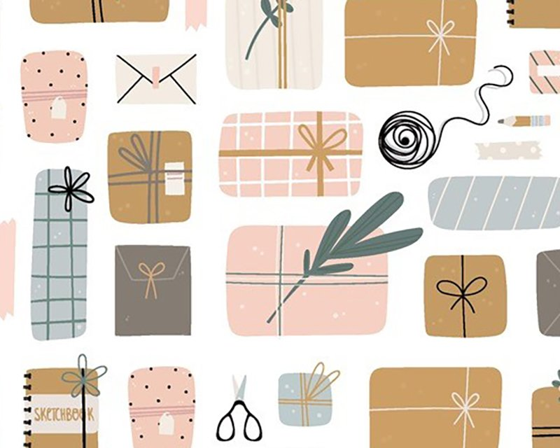 Little Johnny -  Christmas Wrapping Digital Cotton