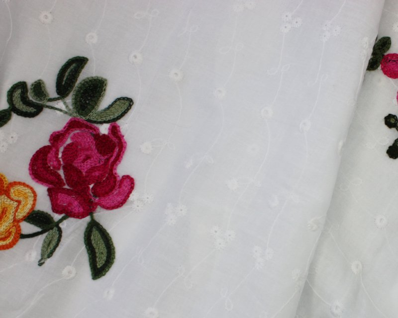 Embroidered Rose Cotton Anglaise